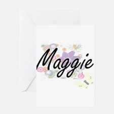 Maggie Artistic Name Design with Fl Greeting Cards
