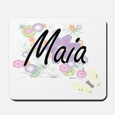 Maia Artistic Name Design with Flowers Mousepad