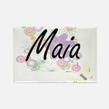 Maia Artistic Name Design with Flowers Magnets