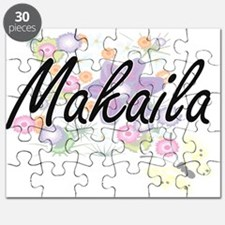 Makaila Artistic Name Design with Flowers Puzzle