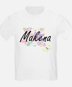 Makena Artistic Name Design with Flowers T-Shirt