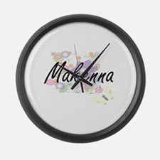 Makenna Artistic Name Design with Large Wall Clock