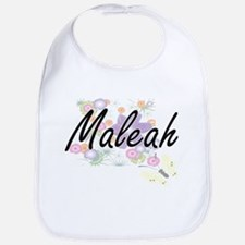 Maleah Artistic Name Design with Flowers Bib