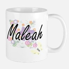 Maleah Artistic Name Design with Flowers Mugs