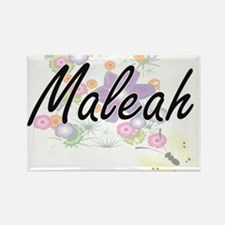 Maleah Artistic Name Design with Flowers Magnets