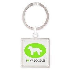 Cute Labradoodle Square Keychain