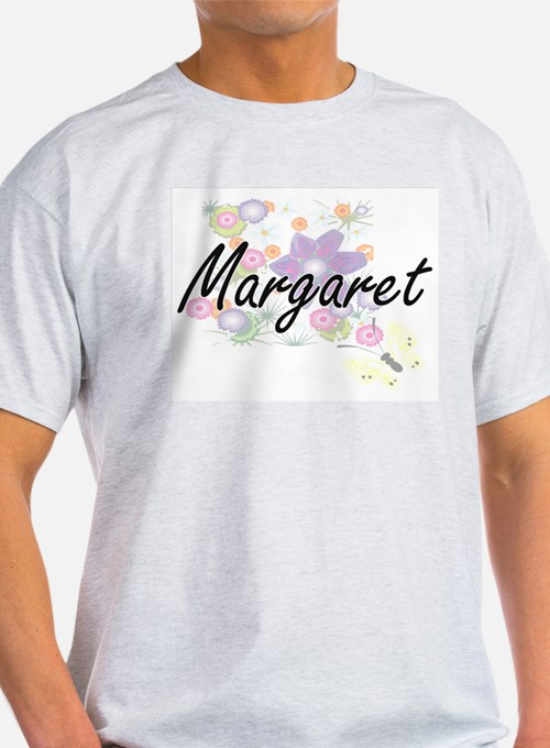Margaret Artistic Name Design with Flowers T-Shirt