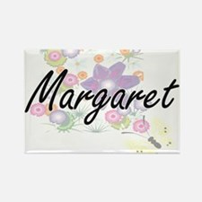 Margaret Artistic Name Design with Flowers Magnets