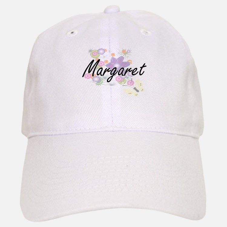 Margaret Artistic Name Design with Flowers Baseball Baseball Cap