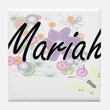 Mariah Artistic Name Design with Flow Tile Coaster