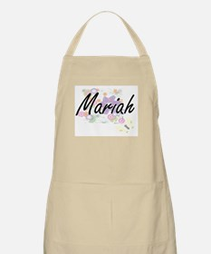 Mariah Artistic Name Design with Flowers Apron