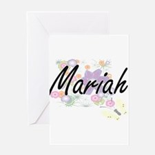 Mariah Artistic Name Design with Fl Greeting Cards