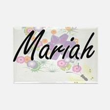 Mariah Artistic Name Design with Flowers Magnets
