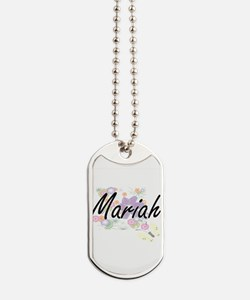 Mariah Artistic Name Design with Flowers Dog Tags