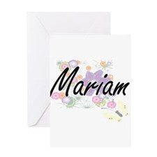Mariam Artistic Name Design with Fl Greeting Cards