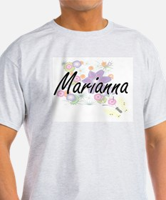 Marianna Artistic Name Design with Flowers T-Shirt