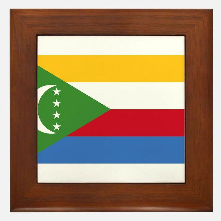 Comoros Flag Framed Tile