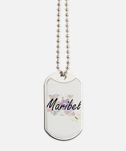 Maribel Artistic Name Design with Flowers Dog Tags