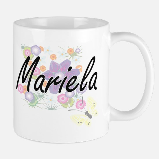 Mariela Artistic Name Design with Flowers Mugs