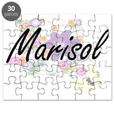 Marisol Artistic Name Design with Flowers Puzzle