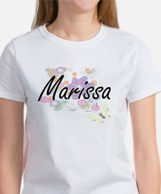 Marissa Artistic Name Design with Flowers T-Shirt