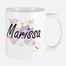 Marissa Artistic Name Design with Flowers Mugs