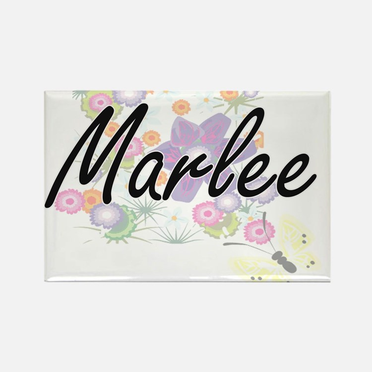 Marlee Artistic Name Design with Flowers Magnets