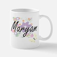 Maryam Artistic Name Design with Flowers Mugs