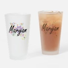 Maryam Artistic Name Design with Fl Drinking Glass
