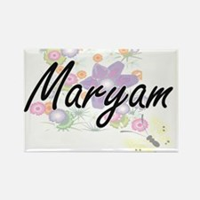 Maryam Artistic Name Design with Flowers Magnets