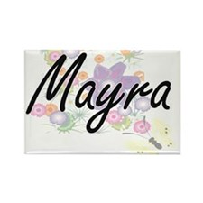 Mayra Artistic Name Design with Flowers Magnets