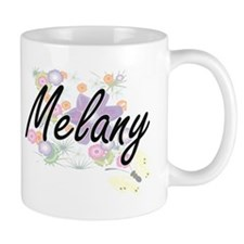 Melany Artistic Name Design with Flowers Mugs