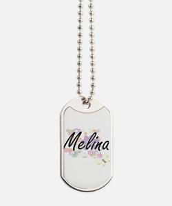 Melina Artistic Name Design with Flowers Dog Tags