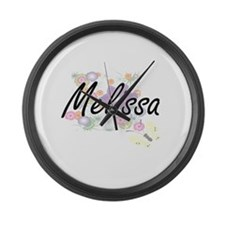 Melissa Artistic Name Design with Large Wall Clock