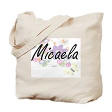 Micaela Artistic Name Design with Flowers Tote Bag