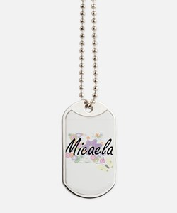 Micaela Artistic Name Design with Flowers Dog Tags