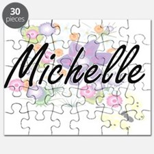 Michelle Artistic Name Design with Flowers Puzzle
