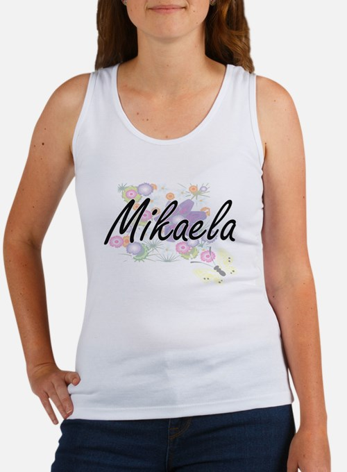 Mikaela Artistic Name Design with Flowers Tank Top