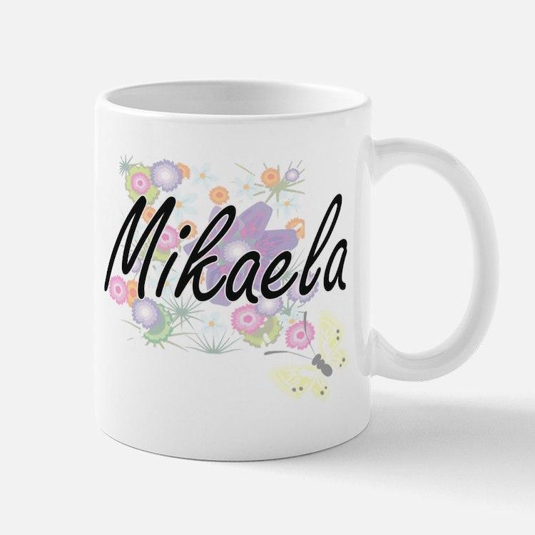 Mikaela Artistic Name Design with Flowers Mugs