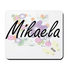 Mikaela Artistic Name Design with Flower Mousepad
