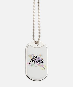 Mina Artistic Name Design with Flowers Dog Tags