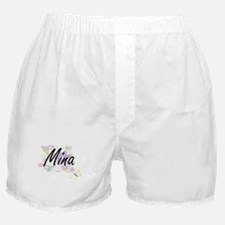 Mina Artistic Name Design with Flower Boxer Shorts