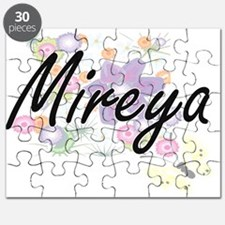 Mireya Artistic Name Design with Flowers Puzzle