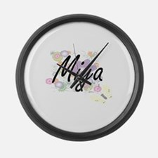 Miya Artistic Name Design with Fl Large Wall Clock