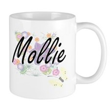 Mollie Artistic Name Design with Flowers Mugs