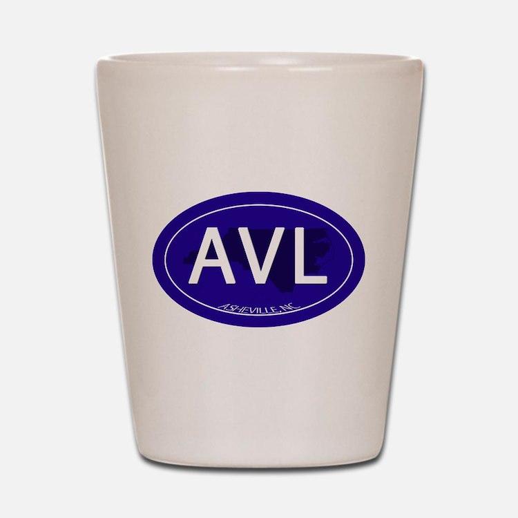 Asheville NC Blue AVL Shot Glass