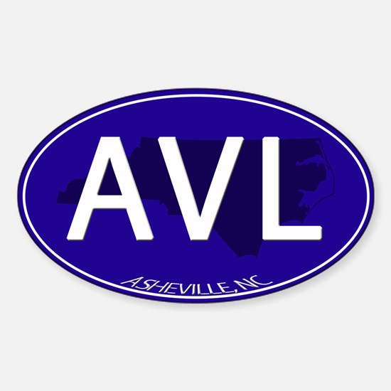 Asheville NC Blue AVL Sticker (Oval)