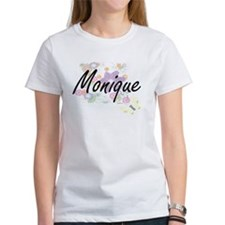 Monique Artistic Name Design with Flowers T-Shirt