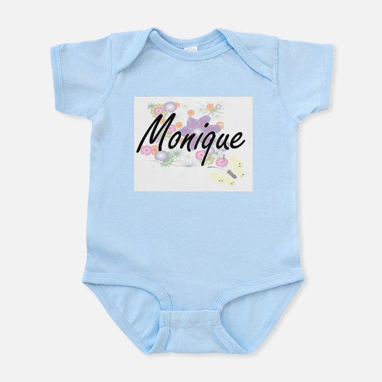 Monique Artistic Name Design with Flower Body Suit