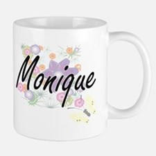 Monique Artistic Name Design with Flowers Mugs